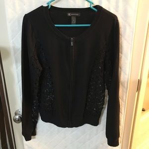 Black cotton zip up cardigan with lace insets